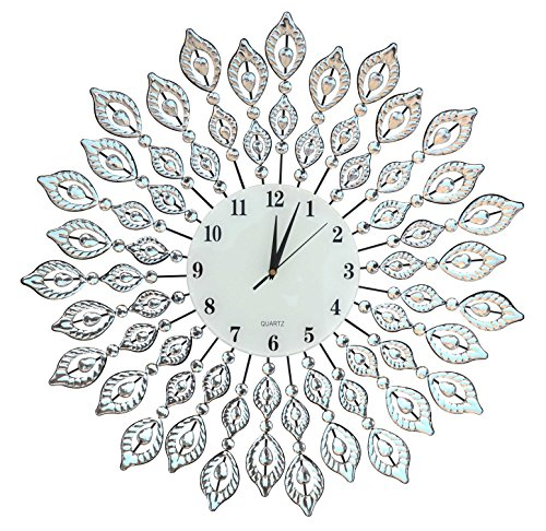 Lulu Decor Decorative Crystal Leaf Metal Wall Clock, Diameter 25