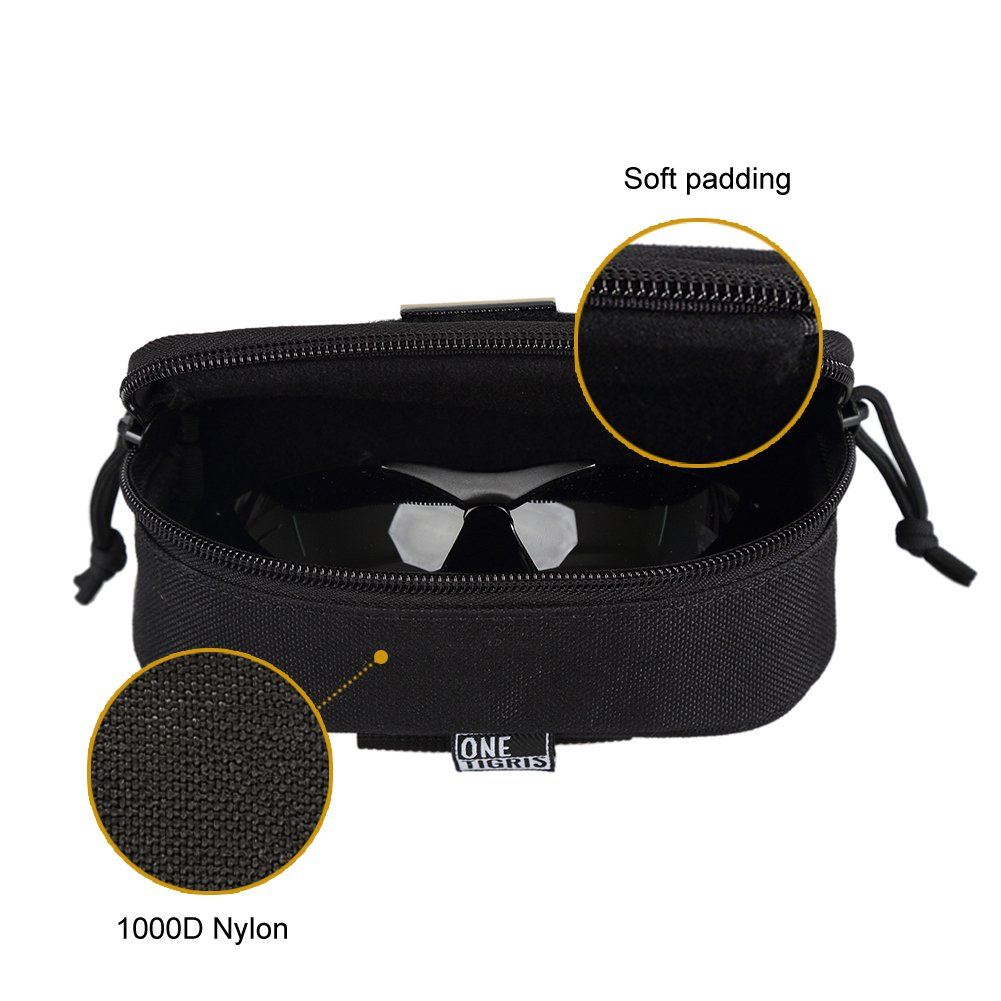 OneTigris Eyeglasses Hard Case Tactical Molle Zipper Sunglasses Carrying Case 1000D Nylon with Clip Black