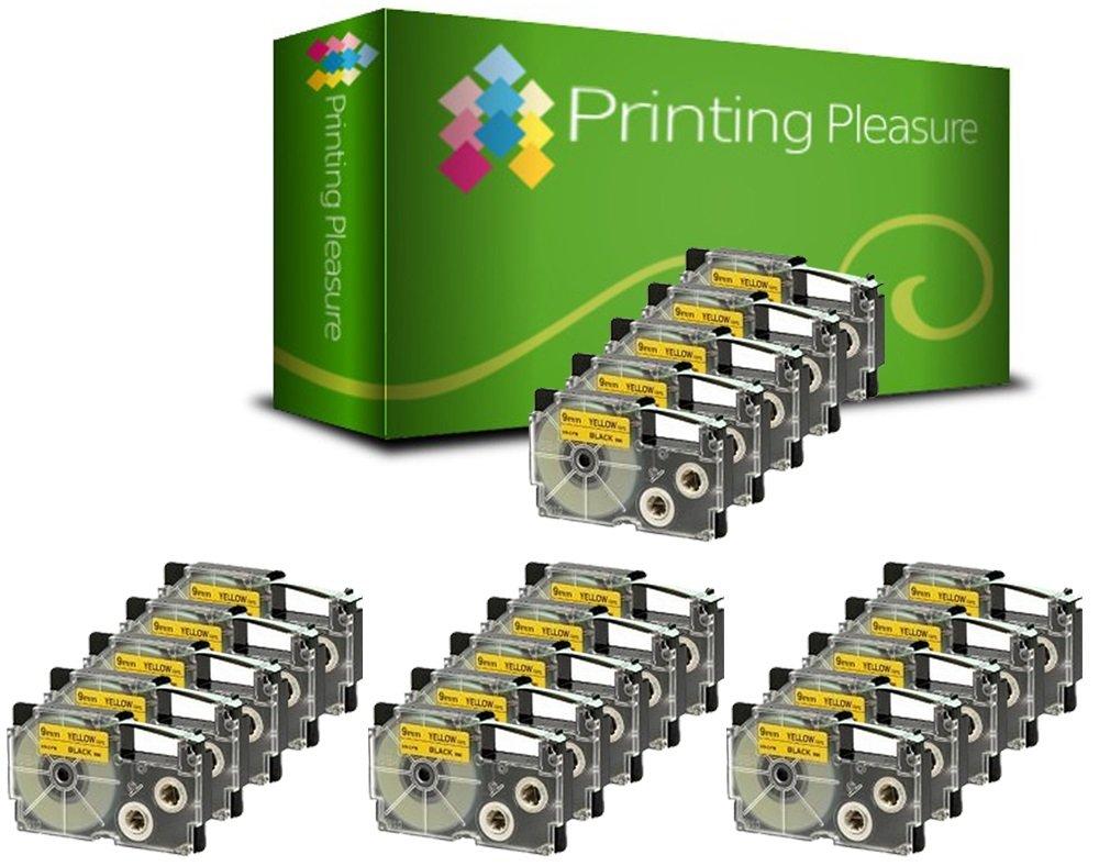 Printing Pleasure 2 x XR-9YW XR-9YW1 Nero su Giallo Nastro compatibile per Casio KL-60 KL-100 KL-120 KL-200 KL-300 KL-750 KL-780 KL-820 KL-2000 KL-7000 KL-7200 KL-8100 KL-8200 CW-L300 | 9mm x 8m Printing Pleasure no Casio original