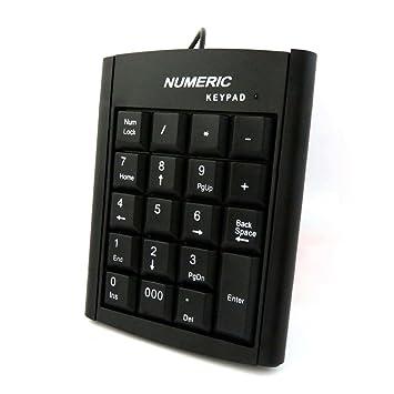 USB Numeric Keypad, Ancdream portátil compacto Mini teclado numérico teclado de tamaño completo 19 clave para portátil ordenador de sobremesa PC portátil, ...
