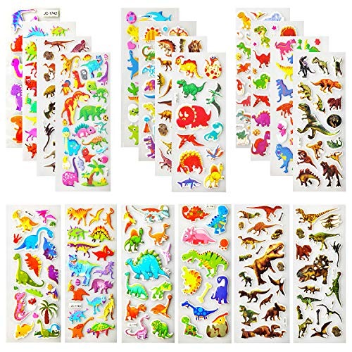 Oiuros 800+ Dinosaur Stickers for Kids, Kids Scrapbooking, 36 Different Sheets, Teacher Boy Reward Stickers Prizes, Dinosaur Themed Birthday Party Favors Supplies (36 Pack) -