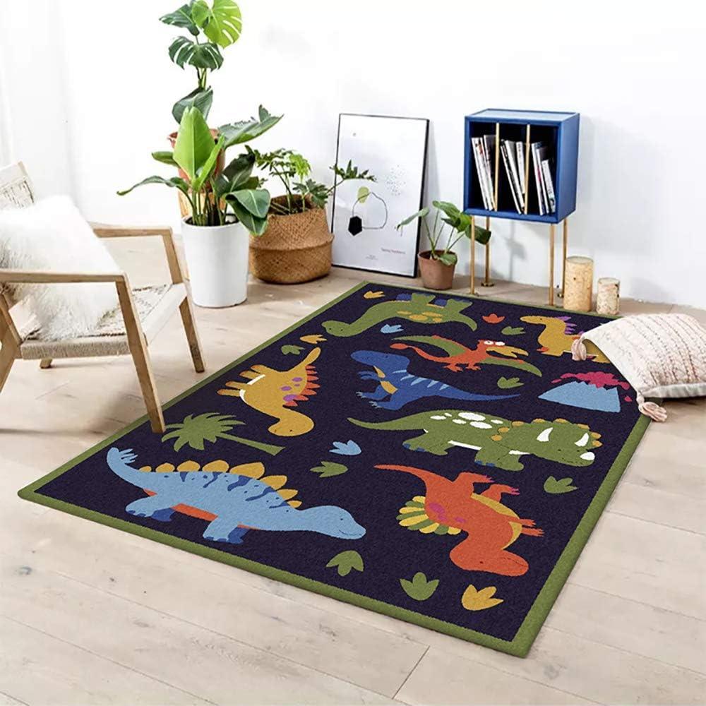 GJXY Children carpets Children carpets dinosaur boys nursery rug nursery boys Dino dark blue carpet living room carpet bedroom carpet,40 60CM