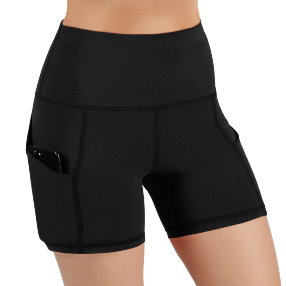 ODODOS High Waist Out Pocket Yoga Shots Tummy Control Workout Running 4 Way Stretch Yoga Shots, Black, Medium