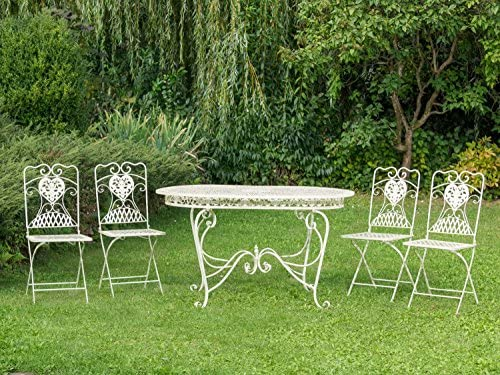 aubaho Conjunto Mesa 4 sillas de Hierro creamwhite Muebles ...