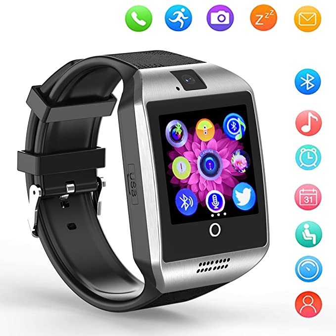 Smart Watch Bluetooth Q18 Touchscreen Wrist Watches SHFY with Camera  Compatible with Android Phones for Men Women (Silver)