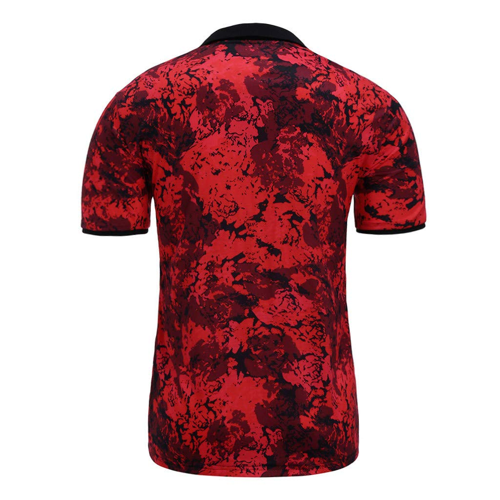 Mens Summer Camouflage Printed Short Sleeves Polo Lapel Blouse Top