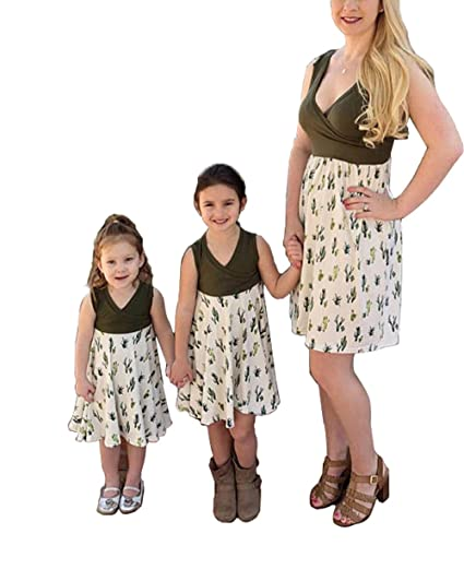 68796600111331 Mommy and Me Cactus Printed Sleeveless Patchwork Family Matching Dresses at  Amazon Women's Clothing store: