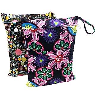 Wegreeco Wet Bag, Baby Wet Dry Cloth Diaper Bags, 2 Pack (Flower, Dotty)
