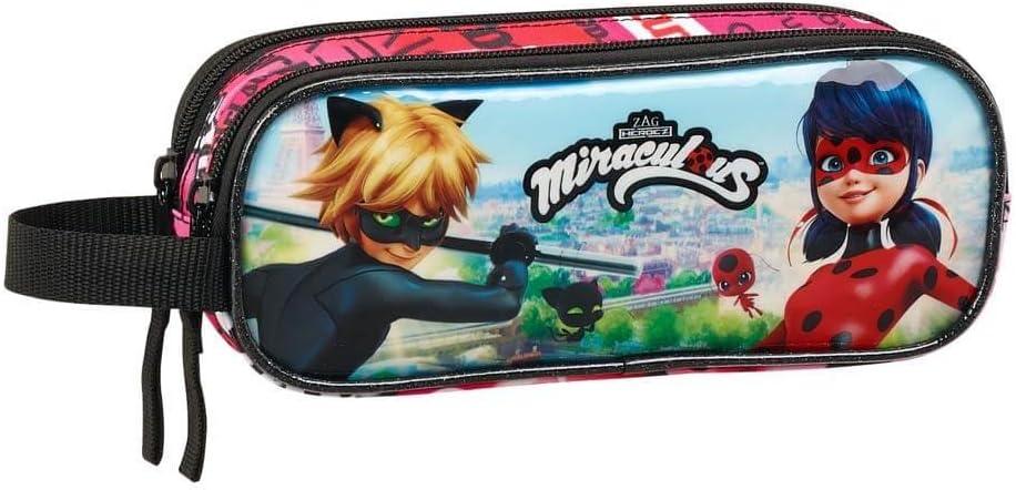 Ladybug & Cat Noir - Estuche portatodo doble (Safta 811716513): Amazon.es: Oficina y papelería
