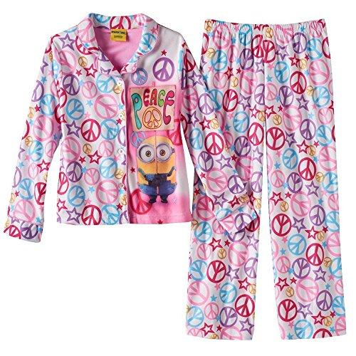 Despicable ME Girls Size 8 Bob Peace Sign Flannel Pajama Set