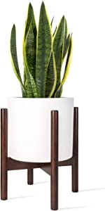 Mkono Plant Stand Mid Century Wood Flower Pot Holder (Plant Pot NOT Included) Potted Stand Indoor Display Rack Rustic Decor, Up to 8 Inch Planter, Dark Brown