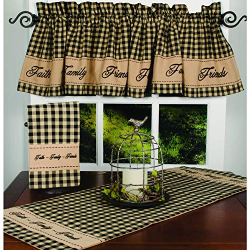 Home Collections by Raghu Faith-Family-Friends Cotton Valance, Black - ()
