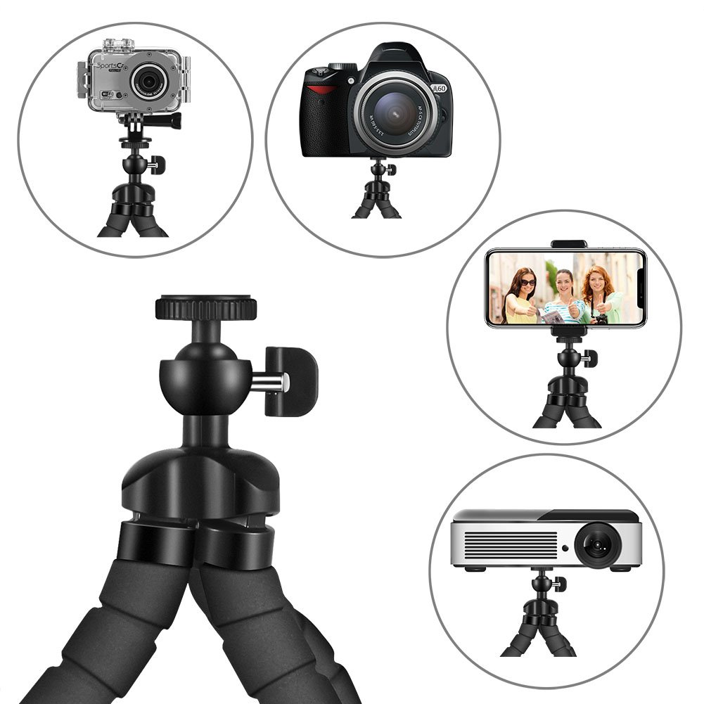Phone Tripod, PacGo Portable and Flexible Cell Phone Tripod with Remote Shutter, Universal Phone Clip and Gopro Adapter for iPhone, Android Phone, Camera, Sports Camera GoPro UPGRADE VERSION by PacGo (Image #2)