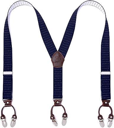 Hombre tirantes moda ajustable y de alta calidad KANGDAI 6 clips con espalda Y Durable ancho elástico correas Tirantes para tirantes de los pantalones (Azul oscuro): Amazon.es: Ropa y accesorios