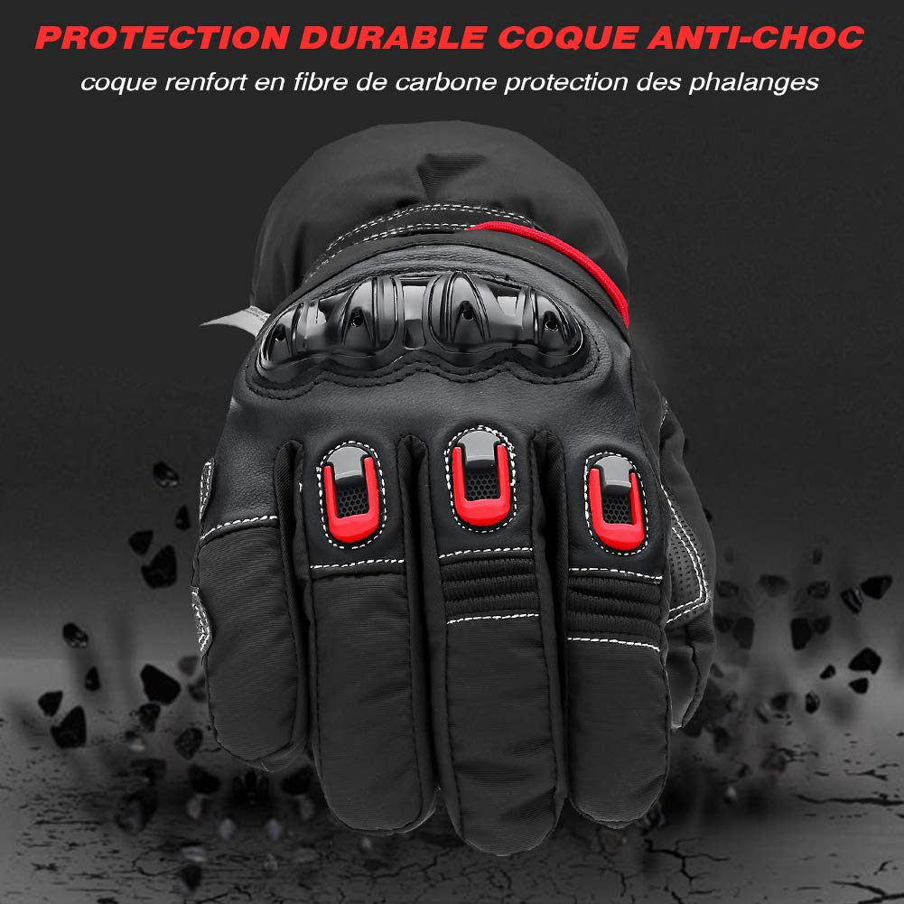 Flexibel Warm Roller Handschuhe Touchscreen Verdicken Wasserdicht Motorradhandschuhe Winter Thinsulate 3M und Leder Anti-Verschlei/ß lange /Ärmel Carbon Crash Shell 360 /°Schutzh/ände f/ür Herren Damen