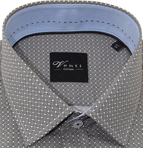 Venti Herrenhemd slimfit braunes Hemd mit Druck halbarm Kent Kragen ohne Tasche Kollektion Size 39