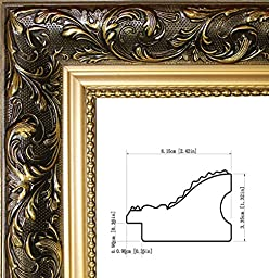 gold ornate finish, Brown Black picture/poster frame size 16x20-inch,solid wood, 2.42 inches wide