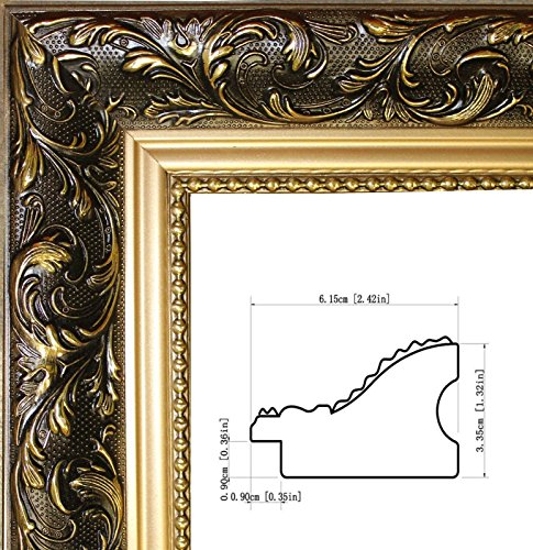 Black Brown Wood (gold ornate finish, Brown Black picture /poster frame size 12x16-inch,solid wood, 2.42 inches wide)