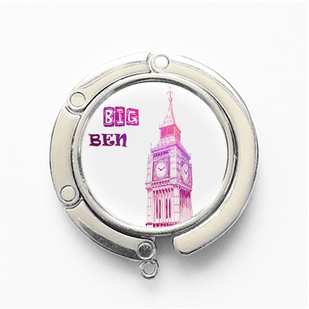 Silvery FS539 RhyNSky Big Ben Round Folding Handbag Hook Purse Hanger Holder for Table