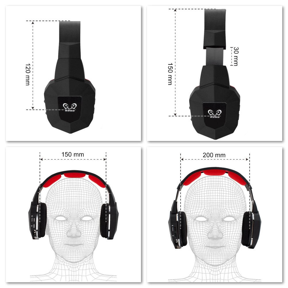 Wireless Headset 2.4Ghz Optical BliGli Noise Canceling Stereo Gaming Game Headphones for TV, PC, PS3, PS4,with 7.1 Surround Sound,Detachable Mic, Rechargeable Battery, and LED Light