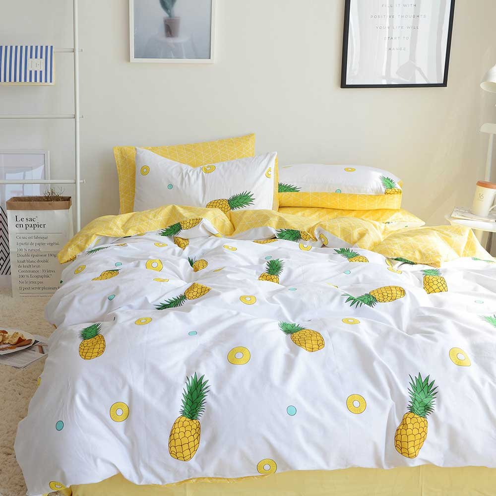 ORoa Bedding Sets Twin 3 Piece Kids Girls Fruit Pie Yellow Pineapple Print 100 Cotton Luxury Soft Duvet Cover Twin with Pillowcases Best Bedding Children Teen Twin, Pineapple, No Comforter by ORoa (Image #2)