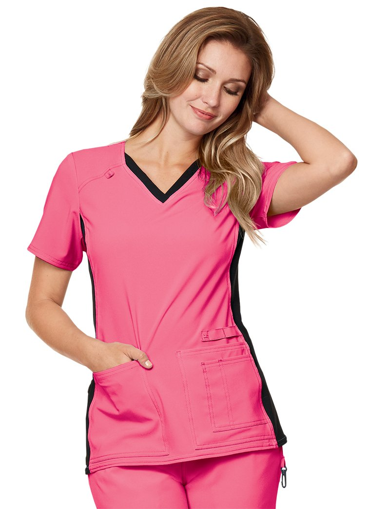 Cherokee Iflex by Women's V-Neck Knit Panel Solid Scrub Top X-Small Karma Pink with Black Contrast