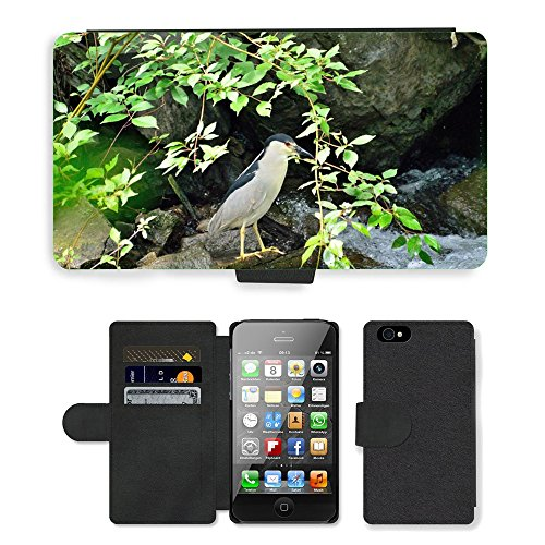 Just Phone Cases PU Leather Flip Custodia Protettiva Case Cover per // M00127427 Bihoreau-Heron échassier // Apple iPhone 4 4S 4G