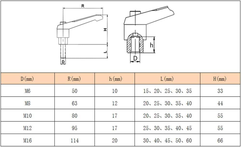 Xiedeai Quincaillerie Fixation Levier de Serrage Boutons Poign/ée R/églable Forme de L Serrage Poign/ée Machine Boutons Femelle ou M/âle Filetage M6 M8 M10 M12 M16
