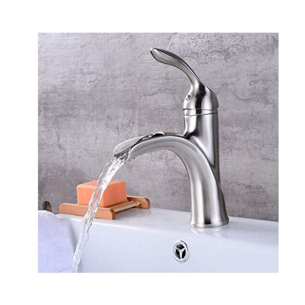 Luxury Modern Faucet Copper Hot and Cold Kitchen Sink Taps Kitchen Faucet Bathroom Silver Basin Faucet Retro Waterfall Faucet