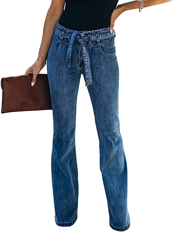 Wide Leg Jeans Raw Hem Denim Pants with Denim belt and side pockets flare leg