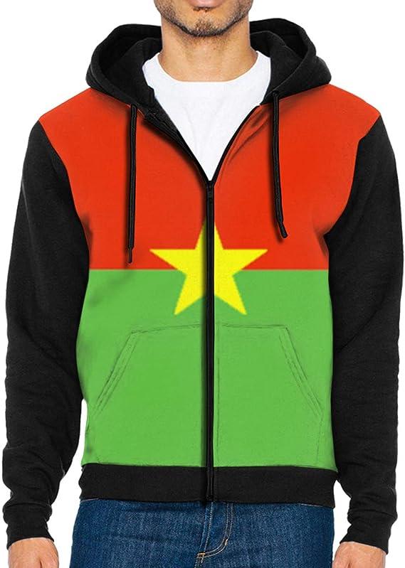 Mens Hoodies Flag of Burkina Faso Fashion Pullover Hooded Print Sweatshirt Jackets