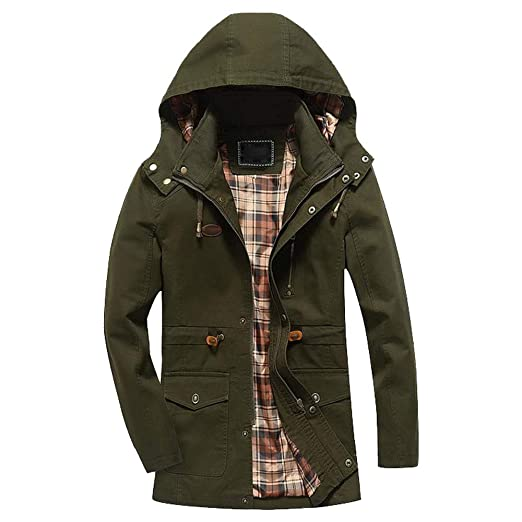 1dda6ce4337 Men s Essential Hooded Windproof Jacket Work Outdoor Sports Waterproof  Softshell (Army Green