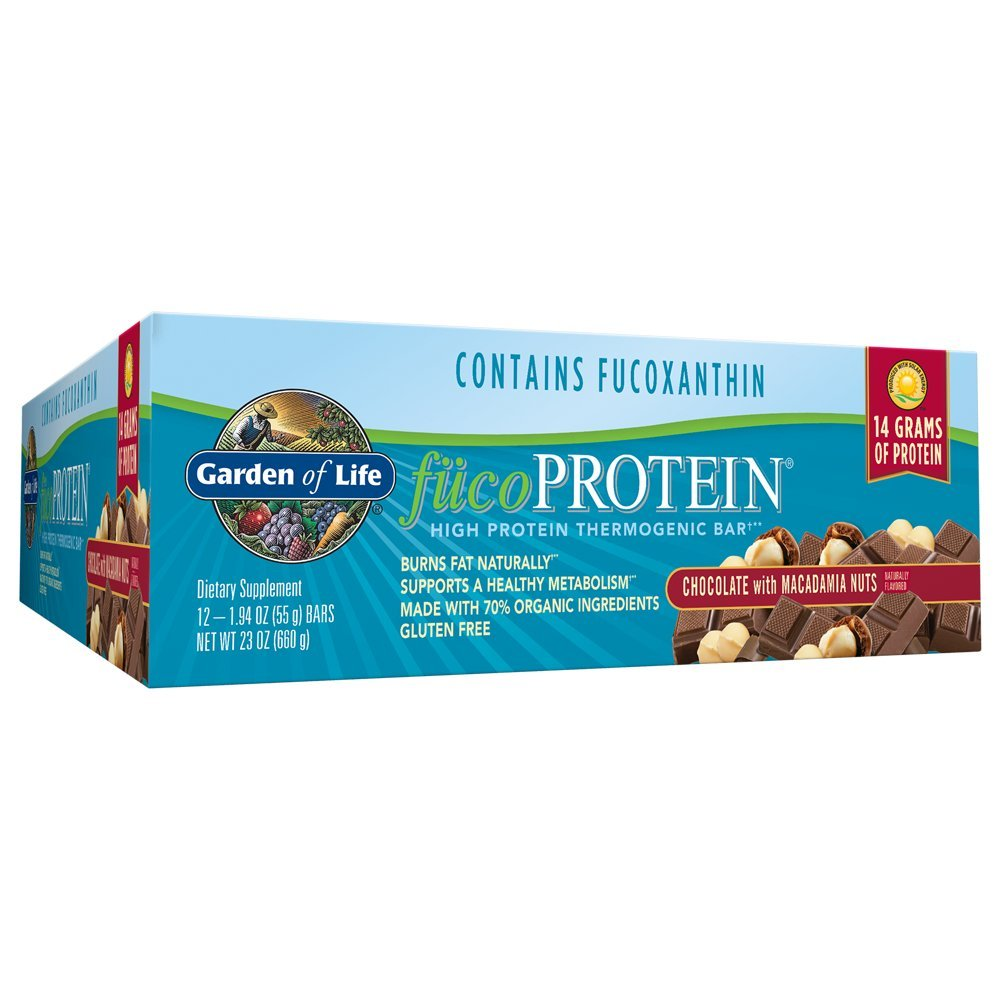 Garden of Life Natural Whole Food High Protein Bars - fucoProtein Chocolate with Macadamia Nuts, 55g bars (12 per carton)