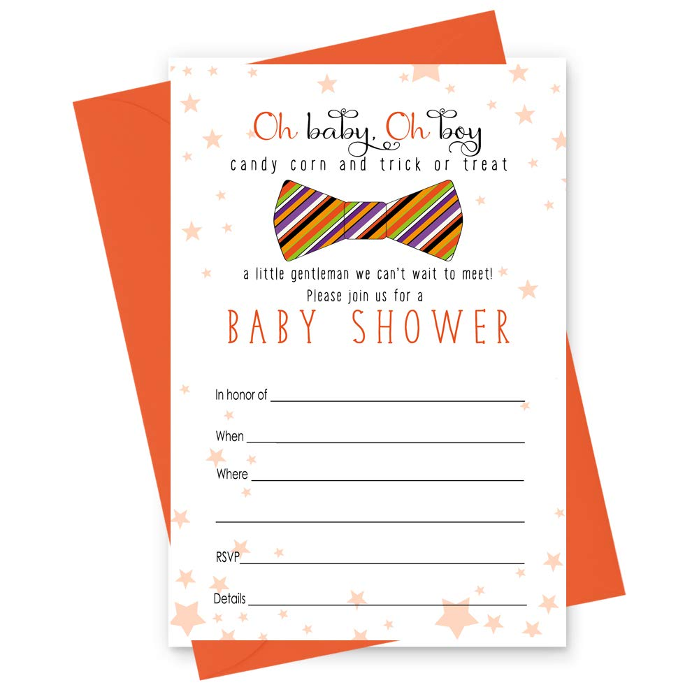 Amazon.com: Halloween Baby Shower Invitations for Boys - Set of 15 Cards  and Orange Envelopes: Health & Personal Care