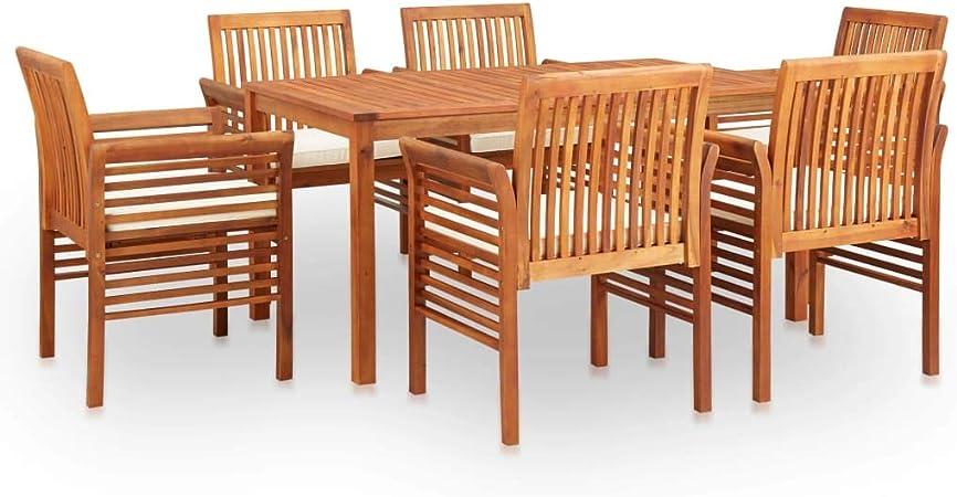 Festnight Set Comedor de Jardín 7 pzas y Cojines Mesas y Sillas de Jardin Conjunto Mesa y Sillas Jardin Madera Maciza de Acacia: Amazon.es: Hogar