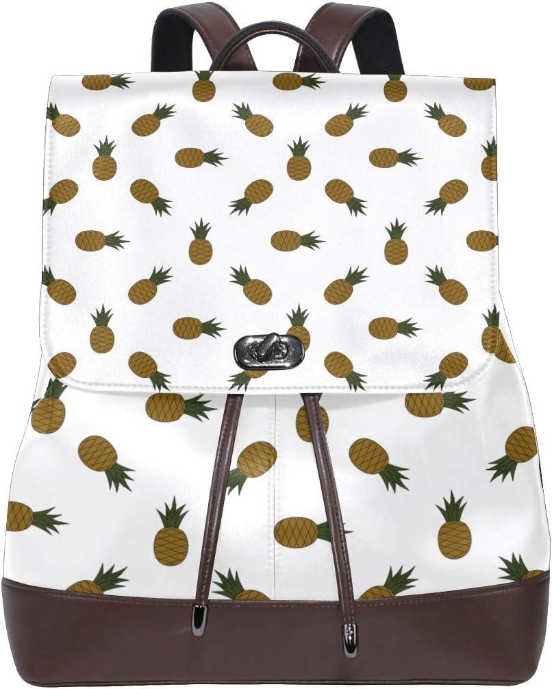 Leather Pineapple Design Backpack Daypack Bag Women