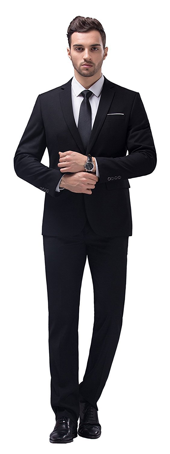 WULFUL Men's Suit One Button Slim Fit 2 Piece Suit for Men Casual/Formal/Wedding Party/Tuxedo by WULFUL (Image #3)