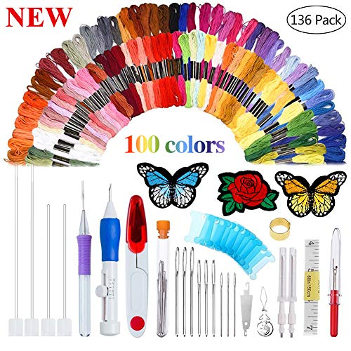 (New Magic Embroidery Pen Punch Needle Embroidery Patterns Punch Needle Kit Craft Tool Embroidery Pen Set, Threads for Sewing Knitting DIY Threaders)