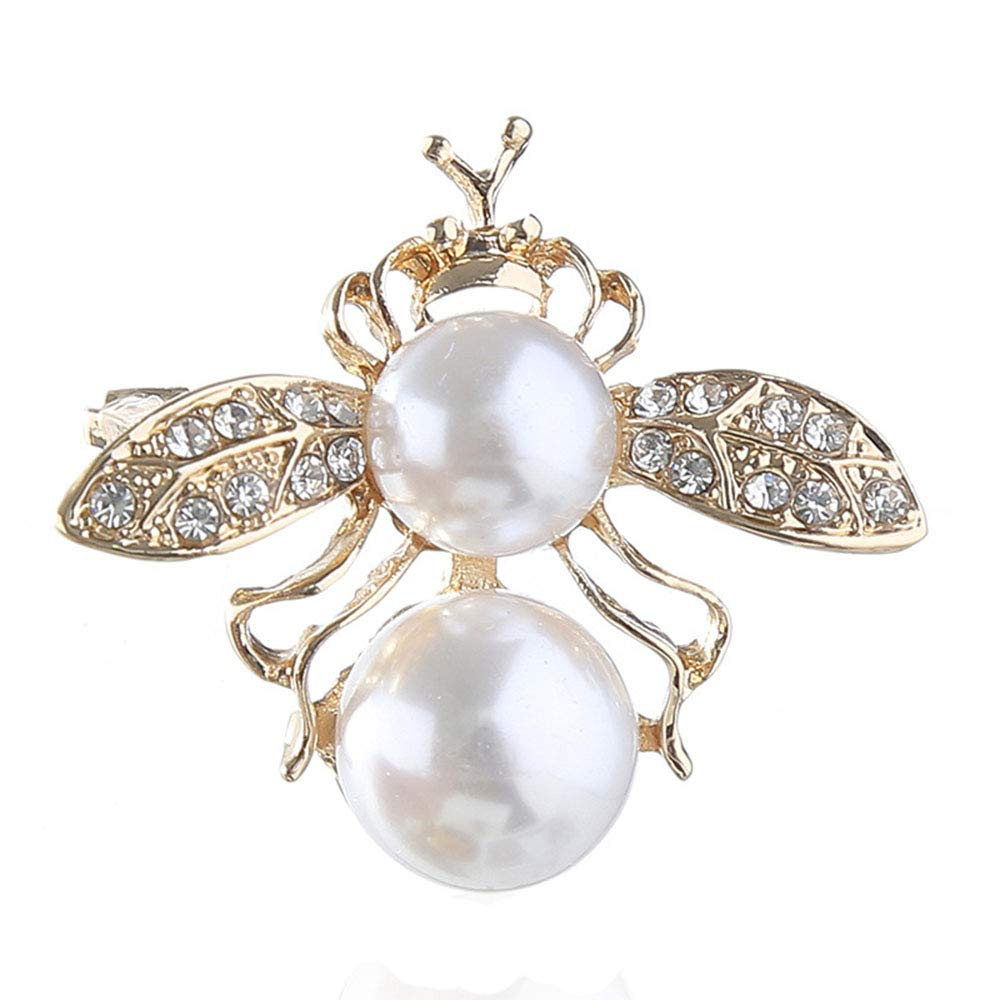 699028f9e Crystal Bee Brooch White Pearl Crown Honeybee Insect Broach Pin Fashion  Clothes Art Deco Dwcly