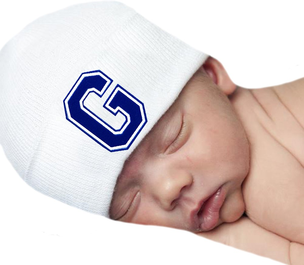 5f6a787344f97 Melondipity Baby Hats First Initial Royal Blue Flocked Letter White  Hospital Hat (G)