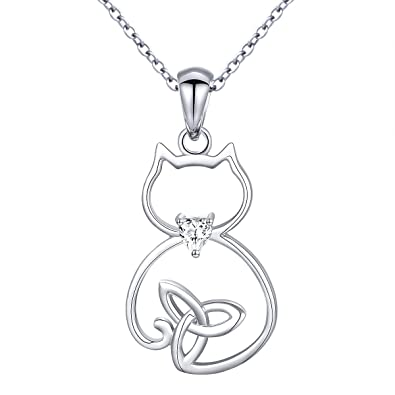 c72d31c99 Sterling Silver Celtic Cute Cat Pendant Necklace for Women Teen Girls,  18""
