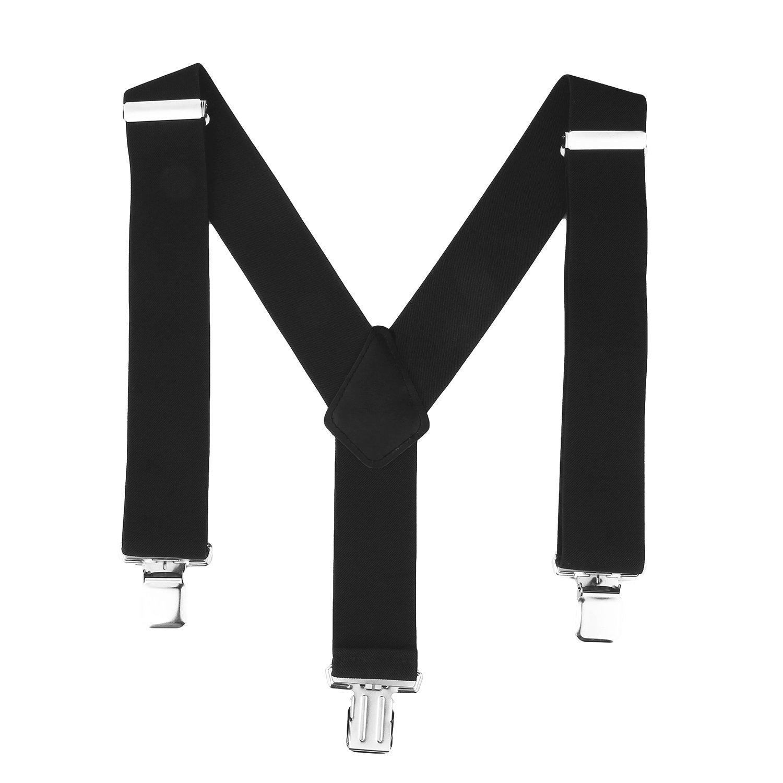 ISASSY Men / Ladies Plain Work Fashion Trouser Braces Adjustable Suspenders Silver Clip Heavy Duty 25/35/40/50mm Wide HKA0109BK