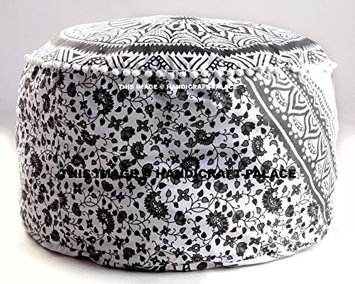 Find Discount Large Bohemian Pouf Ottoman Mandala Footstool Round Floor Pillow Ottoman Living Room I...