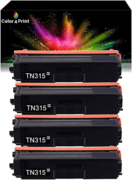 4 Pack,BBBB Color 4 Print Compatible 4 Pack TN-315 Black Toner Replacement for Brother TN-315 TN315BK TN-315BK MFC-L8600CDW MFC-L8850CDW HL-L8350CDW MFC-9970CDW HL-4150CDN