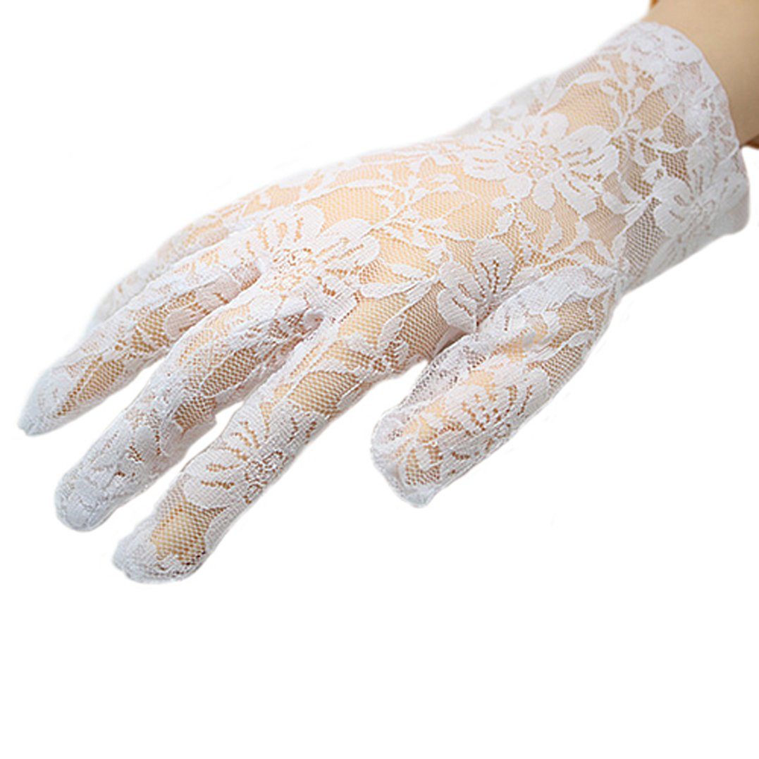 Polytree Women's Wedding & Driving & Evening Lace Gloves (White 1)