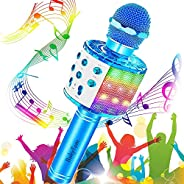 Karaoke Microphone, BukyTom Kids Wireless Bluetooth Microphone Karaoke Machine with Magic Sound Dancing LED Li