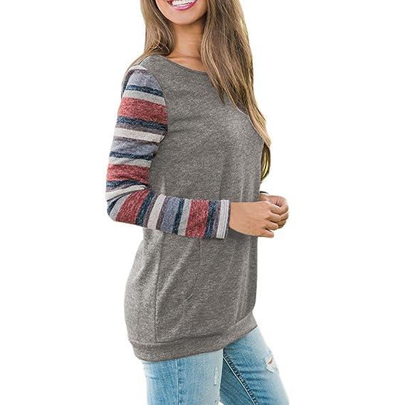 ... Cuello Redondo Blusa Estampada a Rayas Camisa de Manga Larga Sueter Hoodie Sweatshirt Pullover Abrigos de Mujer Invierno: Amazon.es: Ropa y accesorios