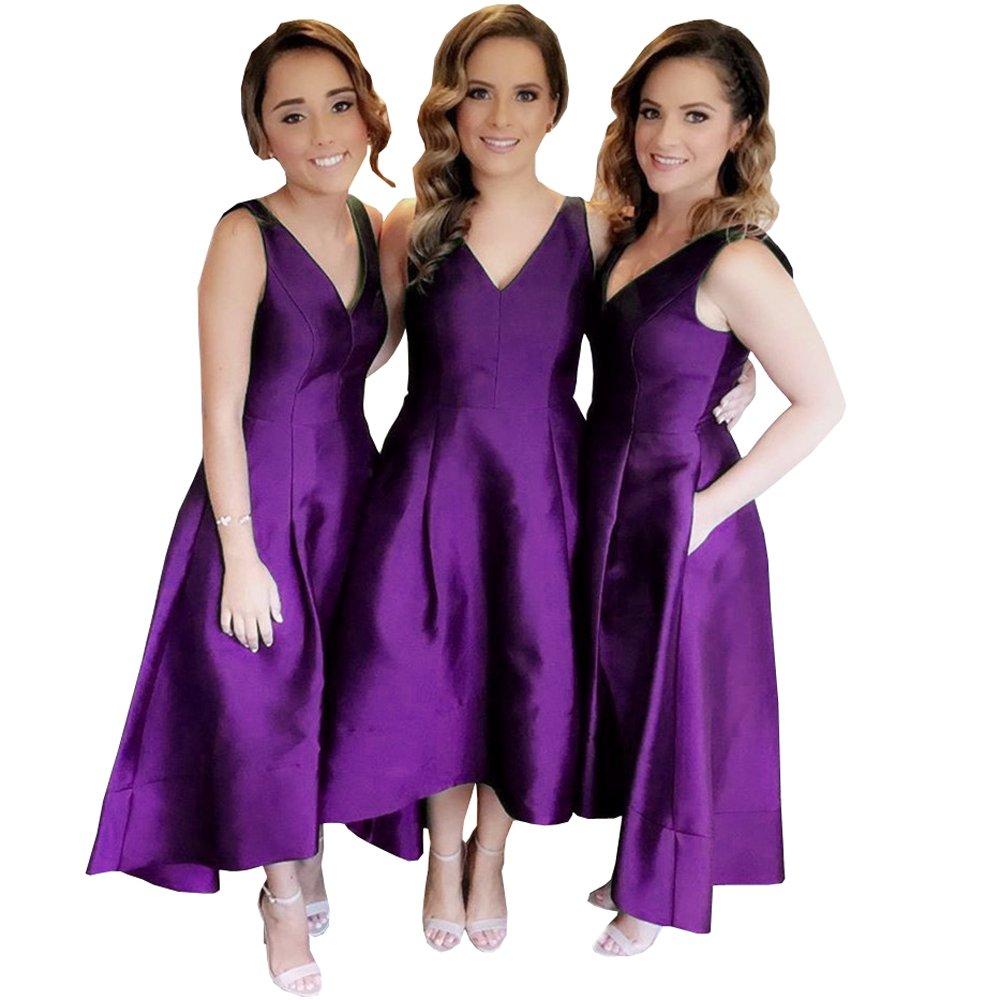 4a7a58b76da High Low Satin Bridesmaid Dress With Pockets - Gomes Weine AG