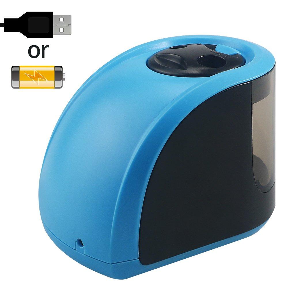 HUSAN Anspitzer, tragbare elektrische automatische Anspitzer für Kinder, Doppel-Loch-Tub-Box mit 2 Ersatzklingen Powered, perfekt für Zuhause, Büro & Schule Klassenzimmer, USB / Batterien betrieben (blau) perfekt für Zuhause
