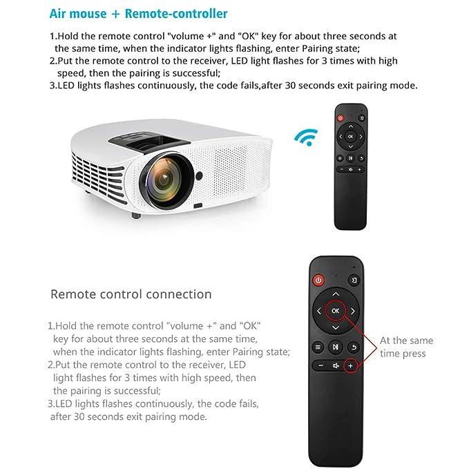 Proyector LED, Apoyo 1080 HD 3600 Lumen Síncrono Pantalla De Vídeo Multi-Pantalla De Cine En Casa Reproductor De DVD para Entretenimiento En El Hogar, ...